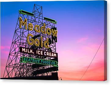 Route 66 Meadow Gold Neon Sign - Tulsa Oklahoma Canvas Print by Gregory Ballos