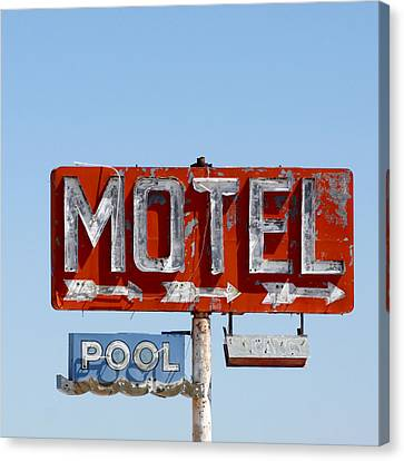 Route 66 Motel Sign Canvas Print by Art Block Collections