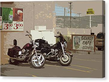 Route 66 Motorcycles With A Dry Brush Effect Canvas Print by Frank Romeo