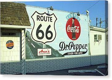 Route 66 - Mural With Shield Canvas Print by Frank Romeo