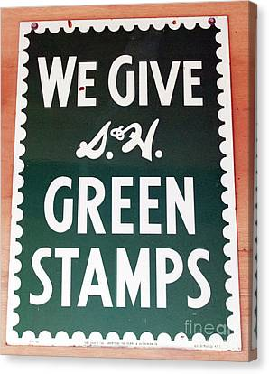 Route 66 Odell Il Gas Station Green Stamps Signage Canvas Print by Thomas Woolworth