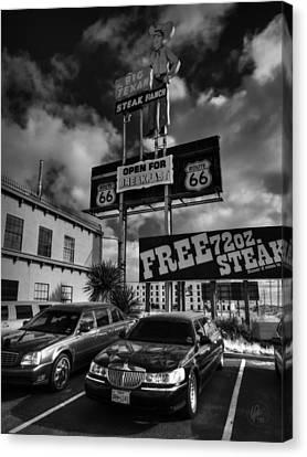 Amarillo Texas Canvas Print - Route 66 - The Big Texan 001 Bw by Lance Vaughn