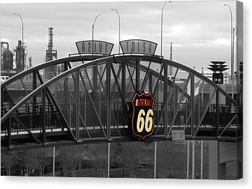 Route 66 Tulsa Sign Bw Splash Canvas Print