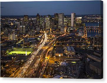 Route 93 Into Boston At Night. Canvas Print