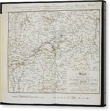 Route Of The Retreat Of Napoleon's Army Canvas Print by British Library