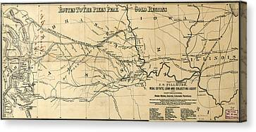 Antique Map - Routes To The Pikes Peak Gold Region - 1860s Canvas Print