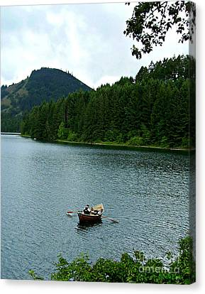 Canvas Print featuring the photograph Row Boat At Dorena Lake  by Mindy Bench