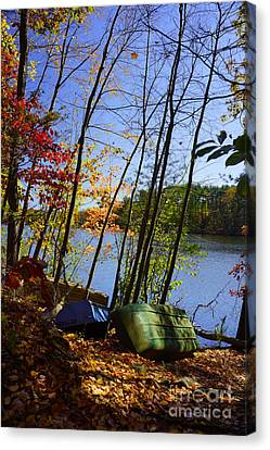 Canvas Print featuring the photograph Row Boats Along Croton Reservoir - Ny by Rafael Quirindongo