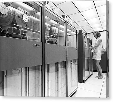 Row Of Computer Tape Drives Canvas Print by Underwood Archives