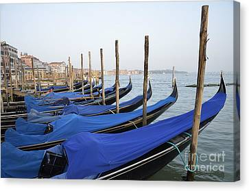 Row Of Empty Moored Gondolas Canvas Print by Sami Sarkis