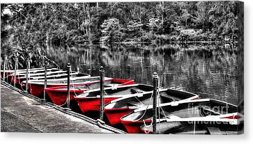 Row Of Red Rowing Boats Canvas Print by Kaye Menner