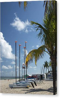 Canvas Print featuring the photograph Row Of Sailboats by Bob Pardue