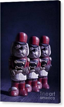 Row Of Three Ceramic Mice Canvas Print by Amanda Elwell