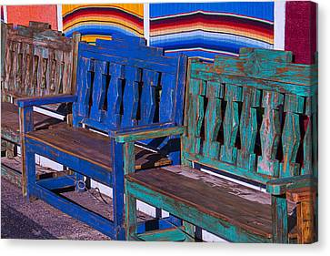 Row Of Wooden Benches Canvas Print