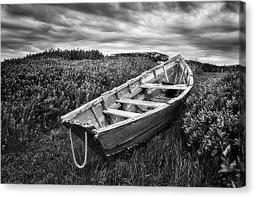 Dry Land Canvas Print - Rowboat At Prospect Point - Black And White by Nikolyn McDonald