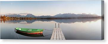 Rowboat Canvas Print - Rowboat Moored At A Jetty On Lake by Panoramic Images