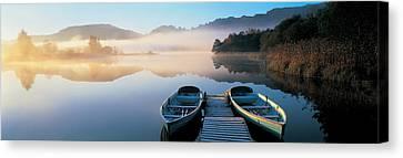 Rowboats At The Lakeside, English Lake Canvas Print by Panoramic Images