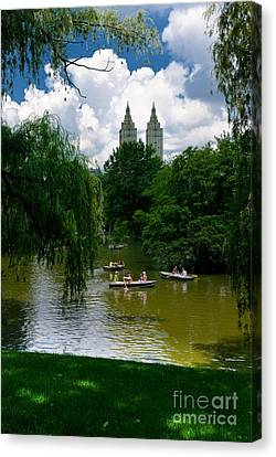 Rowboats Central Park New York Canvas Print by Amy Cicconi