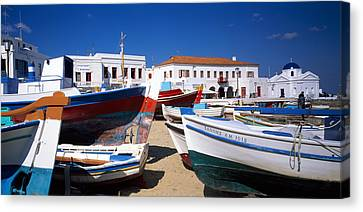Rowboat Canvas Print - Rowboats On A Harbor, Mykonos, Greece by Panoramic Images
