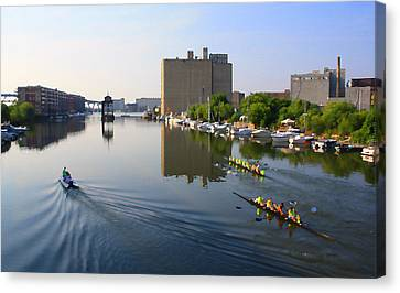 Rowers Milwaukee River 1 Canvas Print