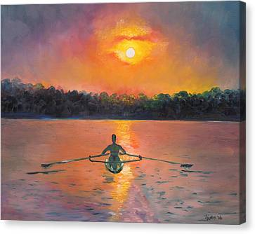 Sunrise Canvas Print - Rowing Away by Eve  Wheeler