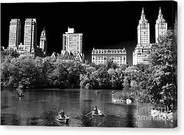 Rowing In Central Park Canvas Print by John Rizzuto