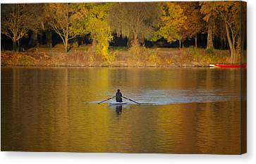 Rowing In The Golden Light Of Autumn Canvas Print by Bill Cannon
