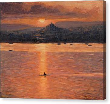 Rowing In The Sunset Canvas Print by Marco Busoni