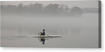 Rowing Into Morning Fog Canvas Print by Gary Slawsky