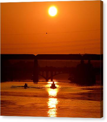 Rowing Into The Sun Canvas Print by Bindu Viswanathan
