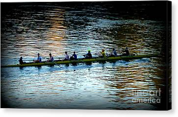 Rowing On The River Canvas Print by Susan Garren