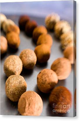 Curve Ball Canvas Print - Rows Of Chocolate Truffles On Silver by Iris Richardson