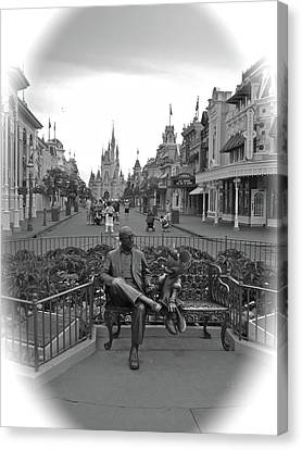 Roy And Minnie Mouse Black And White Magic Kingdom Walt Disney World Canvas Print by Thomas Woolworth