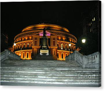 Canvas Print featuring the photograph Royal Albert Hall At Night by Bev Conover