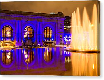 Royal Blue Reflections Union Station Canvas Print