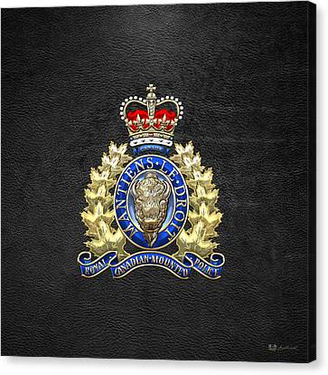 Royal Canadian Mounted Police - Rcmp Badge On Black Leather Canvas Print by Serge Averbukh