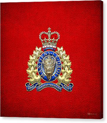 Royal Canadian Mounted Police - Rcmp Badge On Red Leather Canvas Print by Serge Averbukh