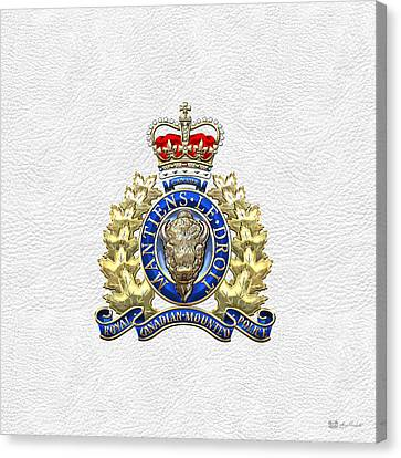 Royal Canadian Mounted Police - Rcmp Badge On White Leather Canvas Print