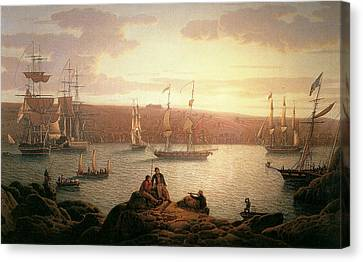 Royal Naval Vessels Off Pembroke Dock Hilford Haven Canvas Print by Robert Salmon