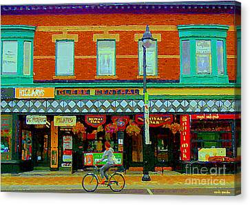 Royal Oaks British Pub Hillarys And Pc Perfect Glebe Central Paintings Of Ottawa Scenes C Spandau Canvas Print by Carole Spandau