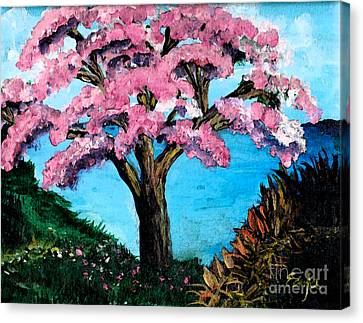 Royal Pink Poinciana Tree Canvas Print by Ecinja Art Works