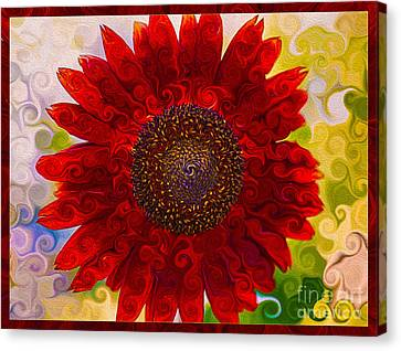 Royal Red Sunflower Canvas Print by Omaste Witkowski