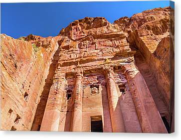 Nabatean Canvas Print - Royal Rock Tomb Arch Petra Jordan by William Perry