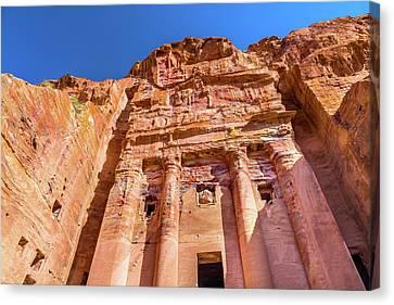 Jordan Canvas Print - Royal Rock Tomb Arch Petra Jordan by William Perry