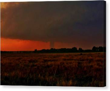 Canvas Print featuring the photograph Rozel Tornado On The Horizon by Ed Sweeney