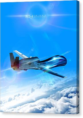 Rq-4 Global Hawk Into The Blue  Canvas Print by Reggie Saunders