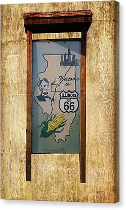 Rt 66 Towanda Il Welcome Signage Canvas Print by Thomas Woolworth