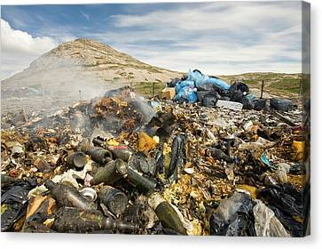 Glass Bottle Canvas Print - Rubbish Abandoned On A Tip by Ashley Cooper