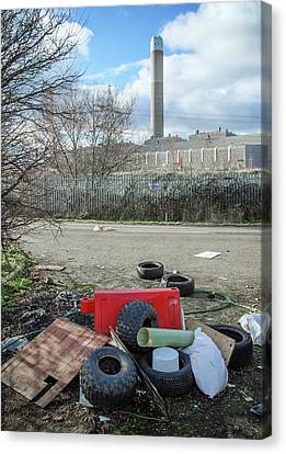 Rubbish Dumped Near Power Station Canvas Print by Robert Brook