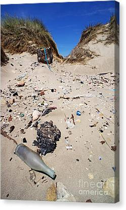 Rubbish On A Sand Dune Canvas Print by Sami Sarkis
